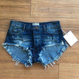 One Teaspoon Bleu Cult Rollers Cut Off Shorts NWT